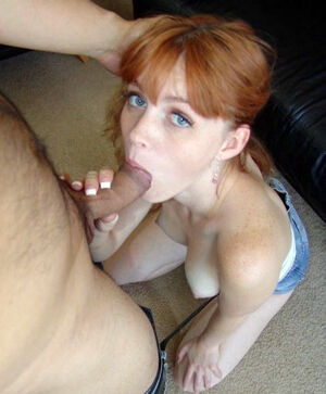 Incredible cute young wife with red hair takes big dick in her tender holes on these sex photos